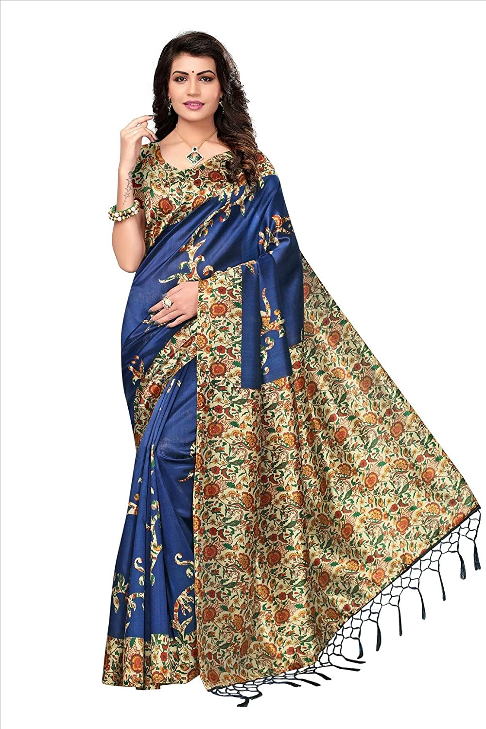 Shonaya Women`S Fancy Blue Colour Mysore Silk Printed Saree RTMST-1032
