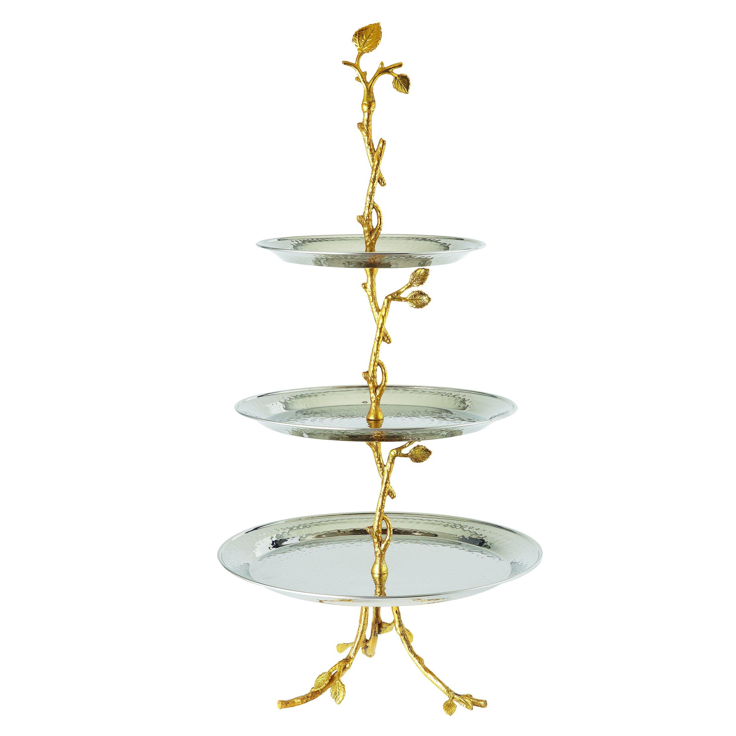 Elegance 70033 Golden Vine Hammered 3 Tier Server, Gold by Elegance