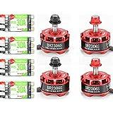 4pcs RacerStar BR2306 2700kV 2-4S Brushless Motor Set with 4pcs RS30A 2-4S Multishot/BLHeli ESCs