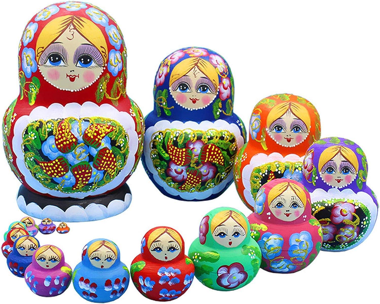 YCX Russische Matroschka Puppen 10 Teile//Satz Matroschkas Holz,Figuren Babuschka Weihnachten Geschenk Kreative Sch/öne Set