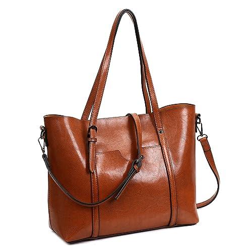 0528972aae2fe KAMIERFA Damen Shopper Henkeltasche Handtasche Top Griff PU Leder Freizeit  Vintage Designer Braun