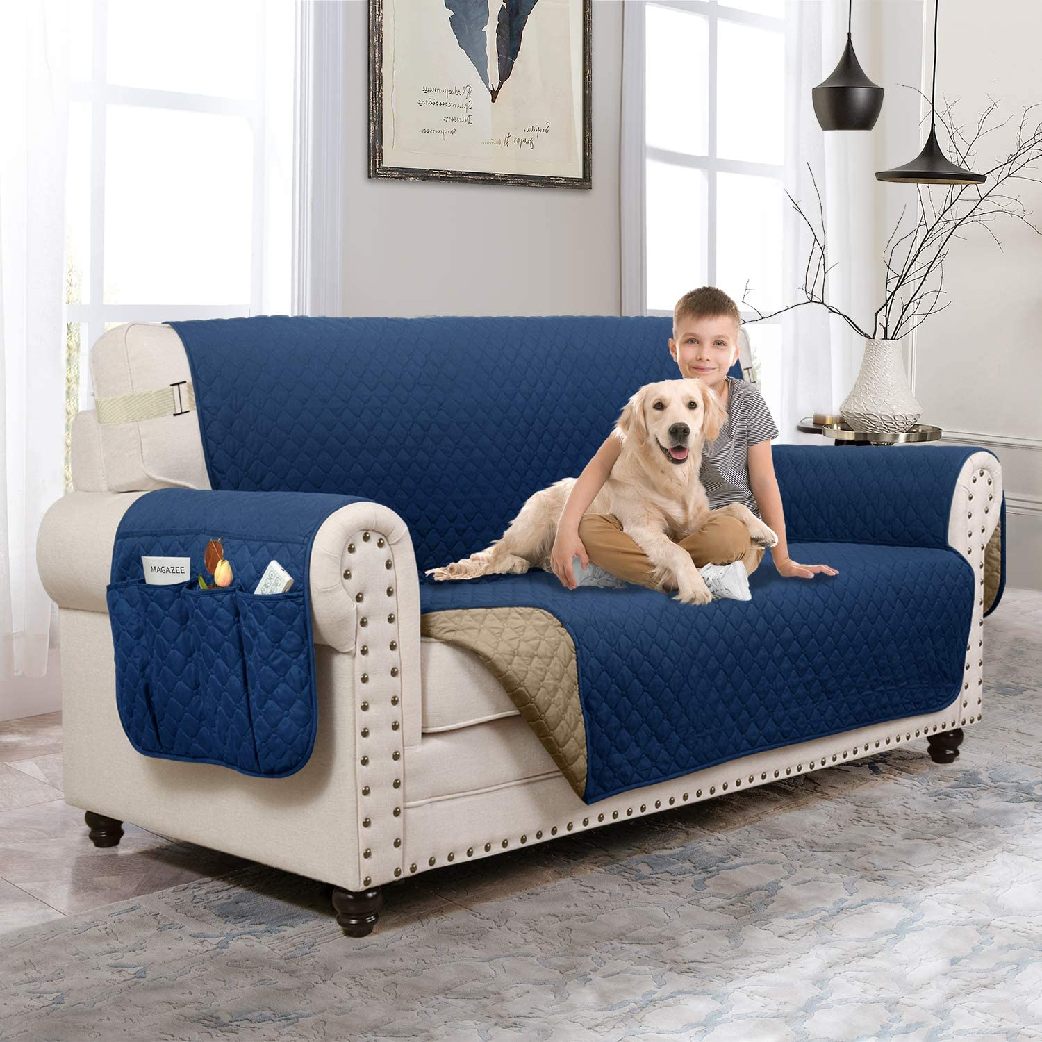MOYMO Reversible Loveseat Cover,Loveseat Slipover with Strap,Loveseat Protector with Pockets,Machine Washable Loveseat Covers for Livingroom,Children,Pets,Kid(Loveseat:Navy Blue/Brown)