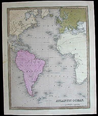 Amazon.com: Atlantic Ocean North South America Africa Europe world ...