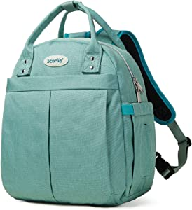 Insulated Lunch Bag Cooler Backpack, SCORLIA Convertible Lunch Tote with Side pocket, Tall Reusable lunch Box Container with Drinks Holder for Girl, Kid, School, Office, Beach, Picnic, Green