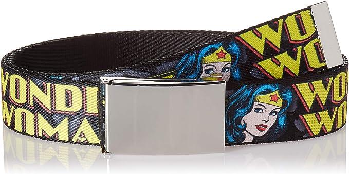 Buckle Down Herren Web Belt Wonder Woman 1 5 Gürtel Mehrfarbig 4 Cm Breit 42 Cm Hosen Größe Bekleidung