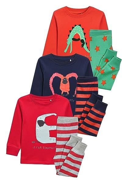 next Niños Pack De Tres Pijamas Abrigados con Animales Y Alfabeto (9 Meses - 8