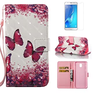 For Samsung Galaxy J5 2017 J530 Case with Card Slot,OYIME [Red Butterfly Flowers] 3D Glitter Pattern Design Bookstyle Leather Wallet Holster Kickstand Function Full Body Protective Bumper Magnetic Closure Flip Cover with Wrist Lanyard and Screen Protector