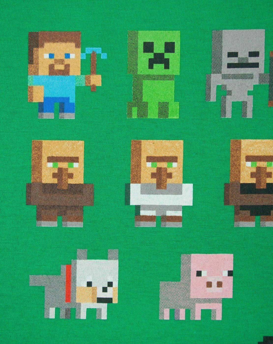 Minecraft Sprites Mojang Boys Kids Green Characters Short Sleeved T-shirt