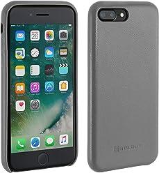 StilGut Premium Cover, Coque en Cuir pour iPhone 7 Plus, Gris Nappa