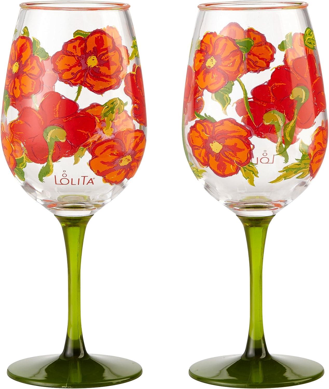 Amazon.com   Enesco Designs by Lolita Best of the Bunch Acrylic Wine Glasses,  Set of 2, 16 oz.: Wine Glasses