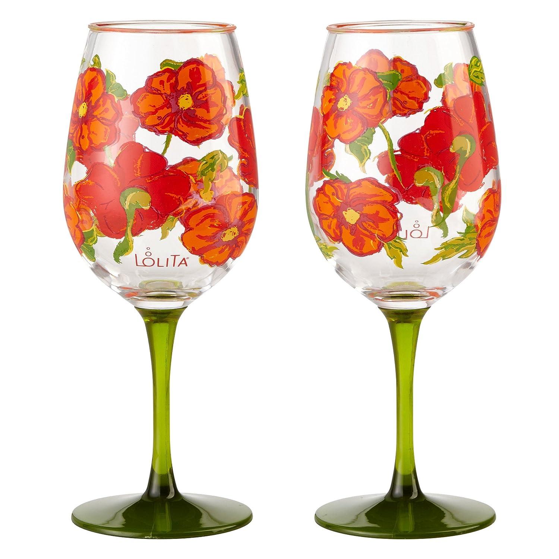Hand Painted Wine Glasses Red Poppy Flower