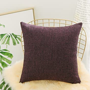 Home Brilliant Euro Shams Throw Pillow Covers Linen Chenille Blend Large  Cushion Cover for Sofa, 26 x 26 Inches (66 x 66 cm), Mixed Burgundy