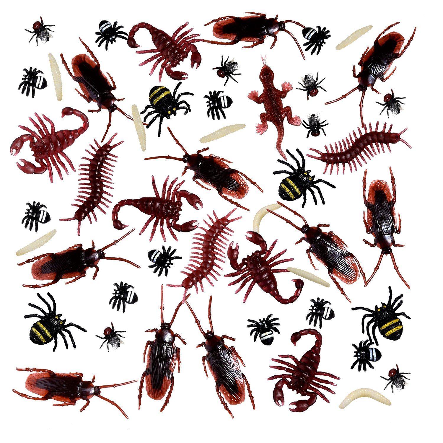 156 Pieces Plastic Realistic Bugs, Fake Cockroaches, Spiders, Worms and Flies for Halloween Party and Decoration BBTO