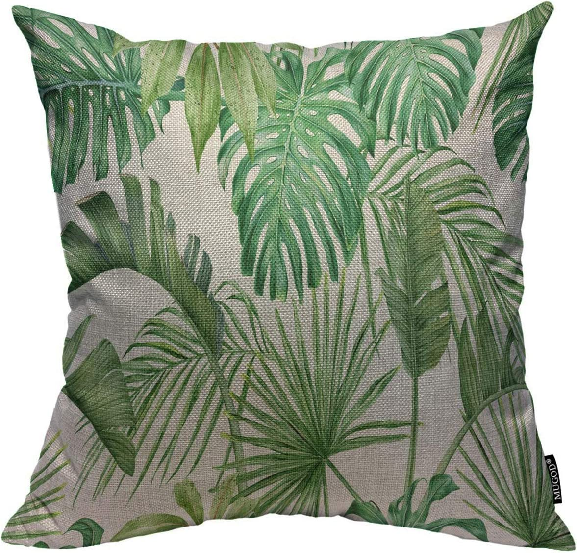 Mugod Throw Pillow Cover Green Leaf Tropical Leaves Monstera Strelitzia Palms Watercolor Frond Holiday Home Decor Square Pillow Case for Men Women Bedroom Cushion Cover 18x18 Inch