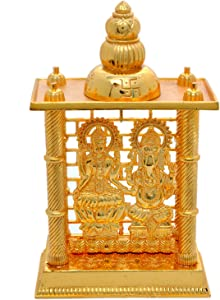 Hashcart (7.5 Inch Laxmi Ganesh Mandir- Brass Plated Especially for Diwali Puja and Gift Purpose