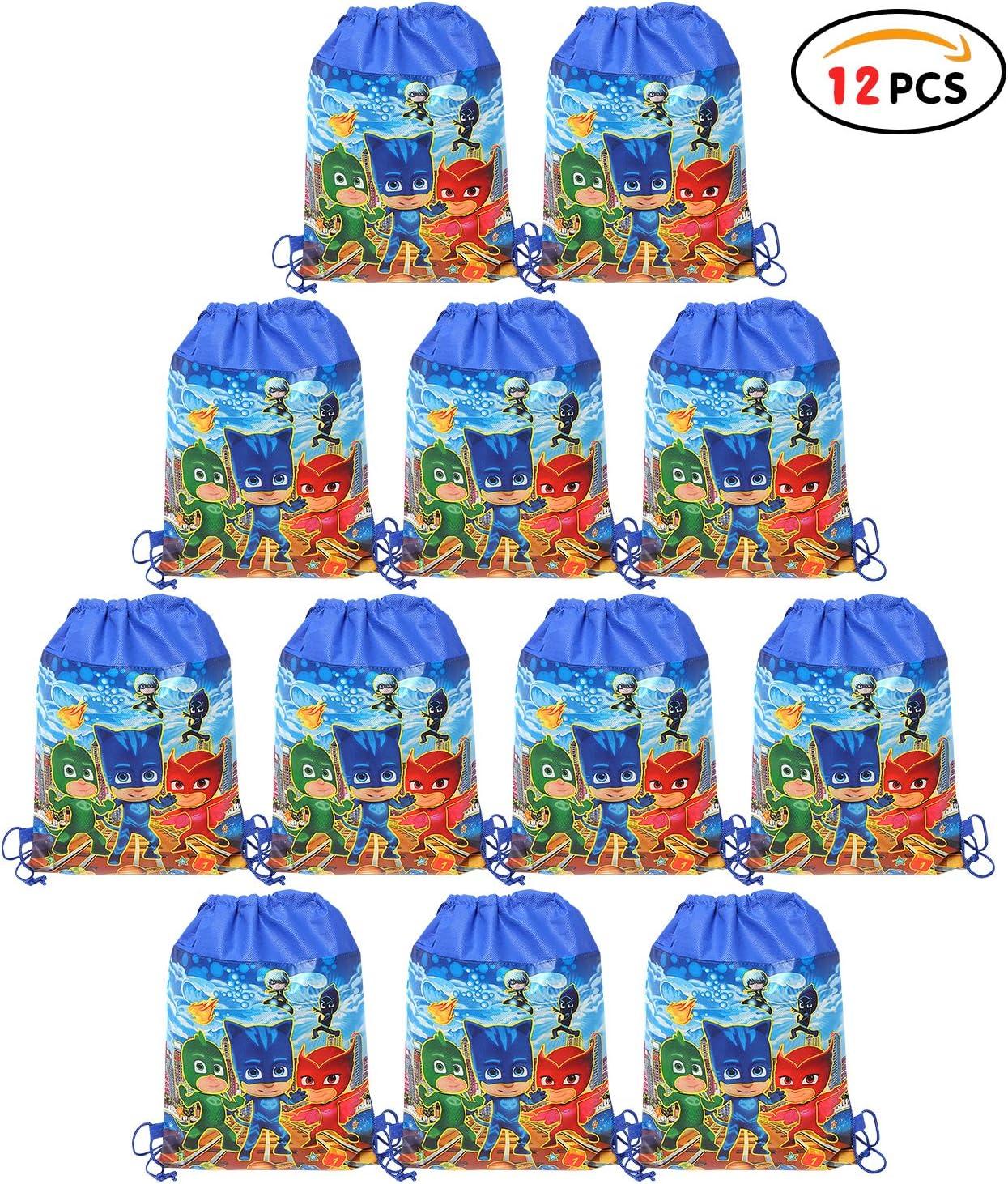 Dessin anim/é Sac /à Dos Sacs /à Cordon Sac de Gym Gar/çons Filles pour Th/ème D/écorations Sac Cadeau de F/ête Anniversaire No/ël Sacs de f/ête Qemsele 12 Pi/èces Sac de f/ête pour Enfant Aven