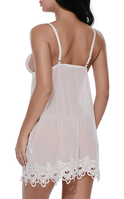 b755f92005ca BMAKA Lingerie Pijamas Mujier Lencería Picardías de Encaje y Tanga a Juego  para Mujer
