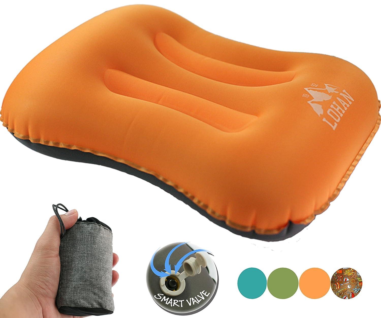 インフレータブルキャンプ枕 – コンパクト、超軽量、快適、人間工学Self Inflating Pillow for旅行、バックパッキング、ハイキング、飛行機、列車、車withネック& Lumberサポート B074P8KJ32 オレンジ オレンジ