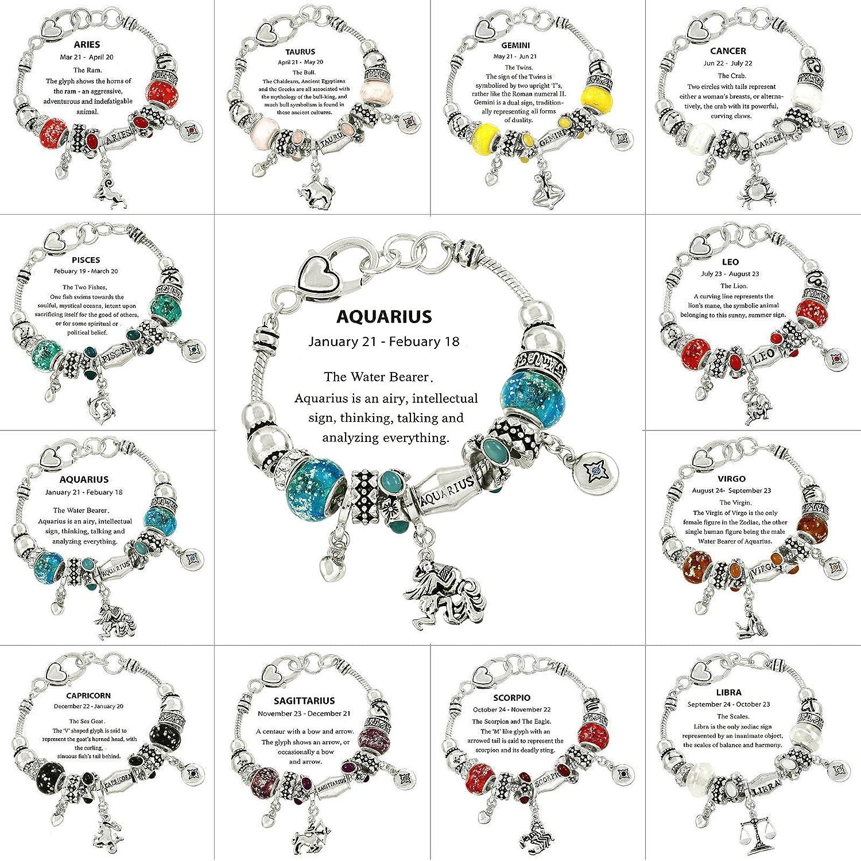 Falari Zodiac Charm Bracelet Multi-Color Slide Metal Murano Beads Silvertone