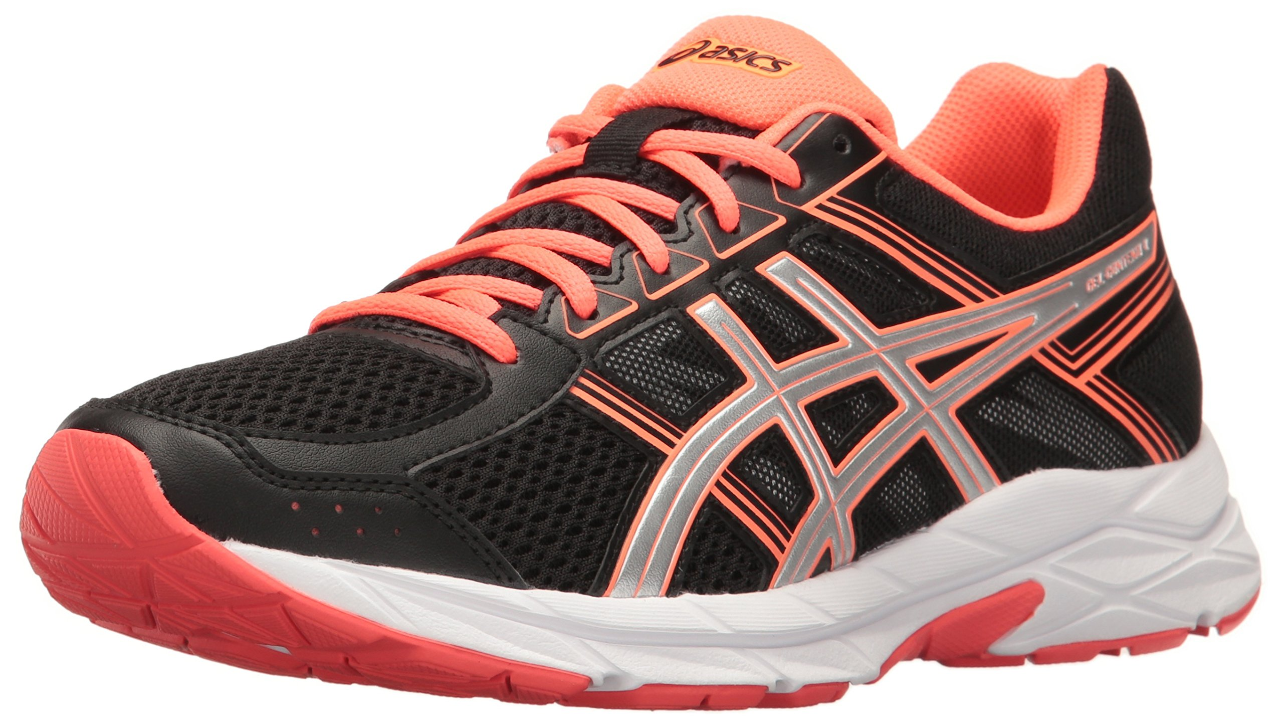 ASICS Women's Gel-Contend 4 Running Shoe, Black/Silver/Flash Coral, 5 M US