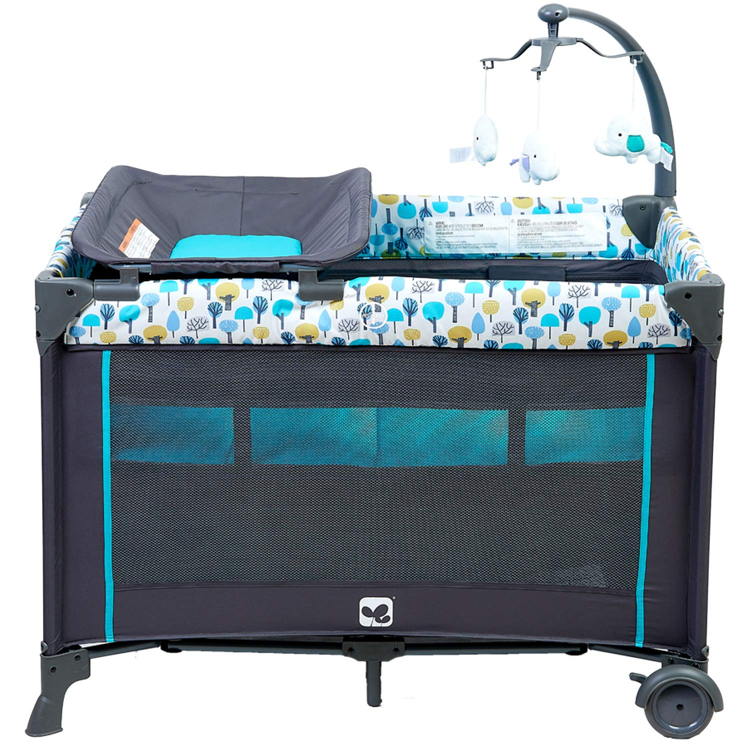Portable Playard,Sturdy Play Yard with Comfortable Mattress and Changing Station Blue/&Green