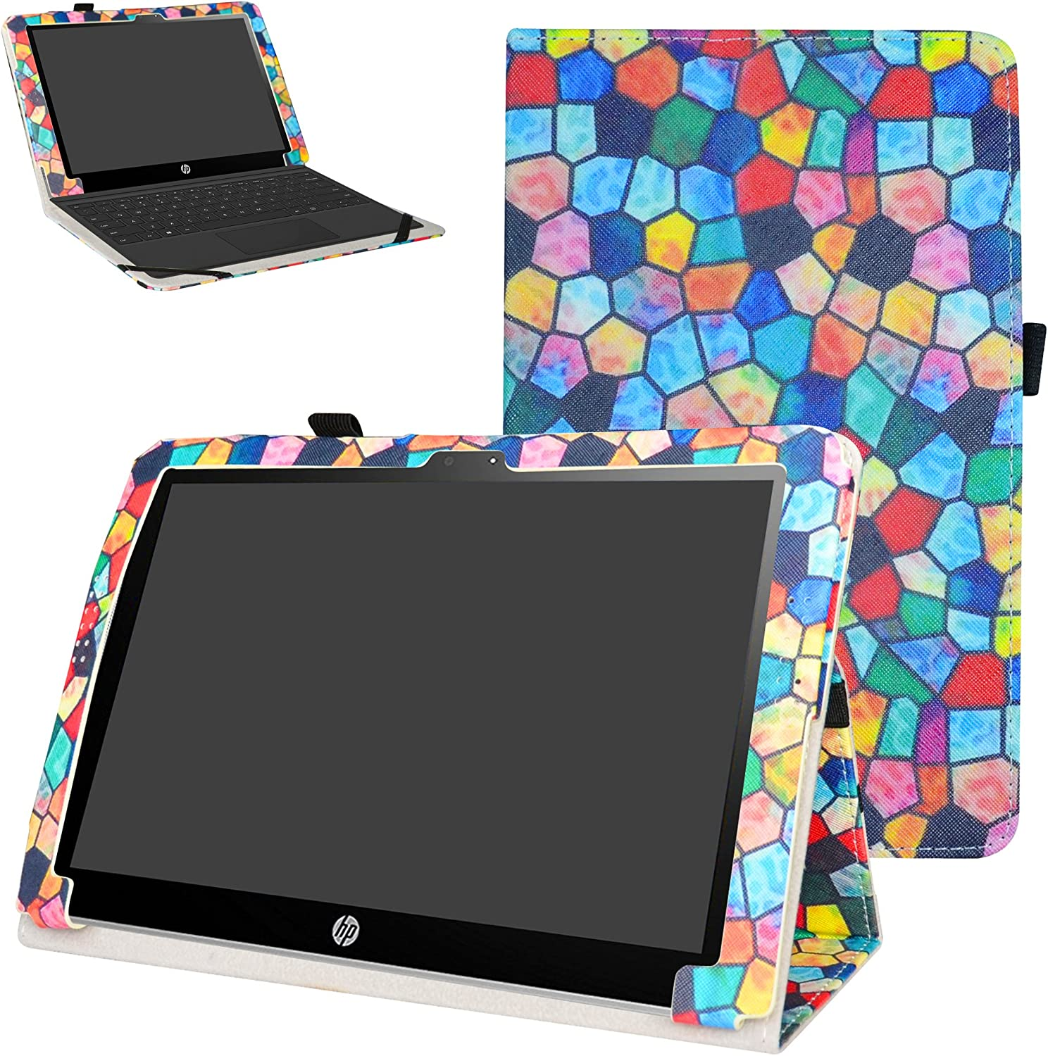"Mama Mouth PU Leather Folio Folding Stand Case Cover for 10.1"" HP X2 10 10-p010nr 10-p020nr 10-p092ms Tablet(Only fit HP X2 10-p000nr Series,not fit HP Pavilion x2 10 10-n000nr Series),Stained Glass"