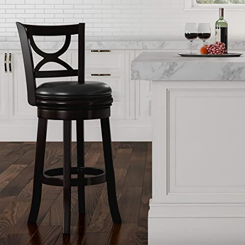 Lavish Home Black Swivel High Back Stool-29 Counter or Bar Height-360 Degree Rotating Seat, Faux Leather, Solid Dark Wood Finish Footrest