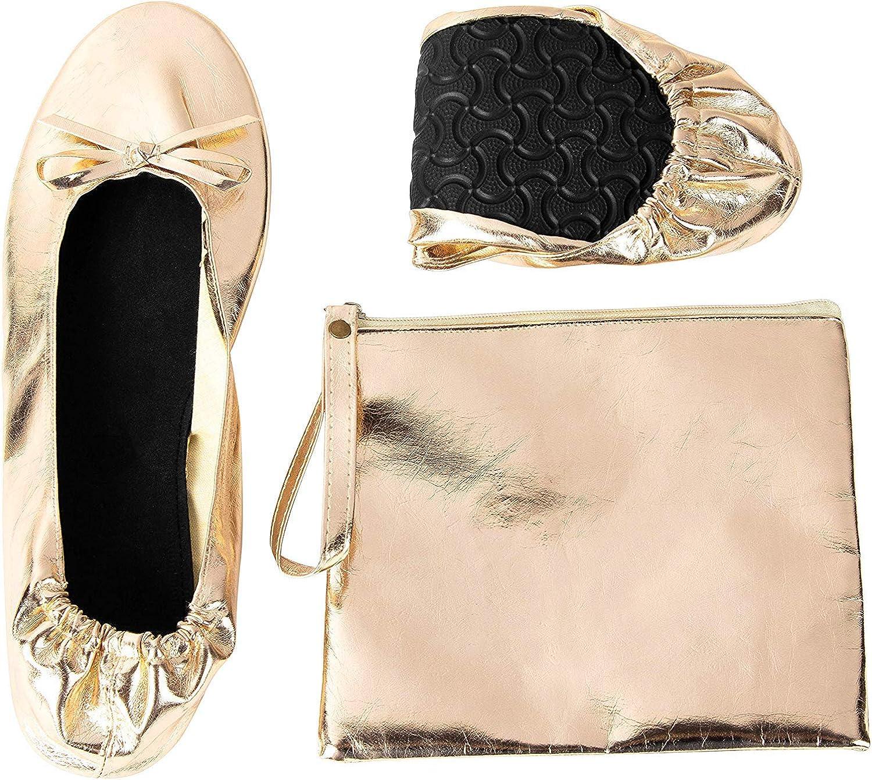 Rose Cheeks Pisos de Ballet Plegables - Bailarina portátil de Las Mujeres ruedan para Arriba los Zapatos con la Bolsa, Desnuda, m: Amazon.es: Zapatos y complementos