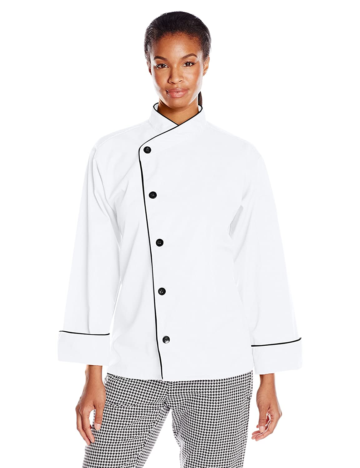 Uncommon Threads Women's Panama Chef Coat 5 Button W/Piping 0491