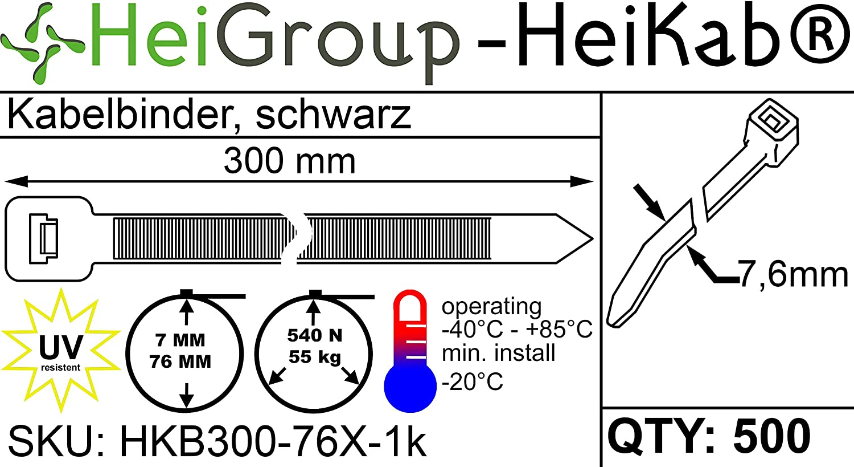 UV-Best/ändig Schwarz Mindestzugfestigkeit 180N // 18,3 kg HeiKab 1000 Kabelbinder 300 x 3,6 mm