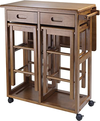 Amazon.com: Ahorrador de espacio Winsome con 2 taburetes, Madera, Teca: Furniture & Decor