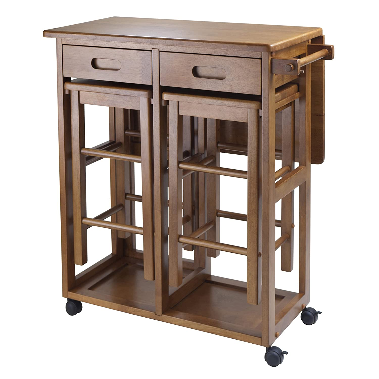 Narrow Kitchen Island Table Small Kitchen Island Table Brown Wood Rolling Lock Compact Two Bar