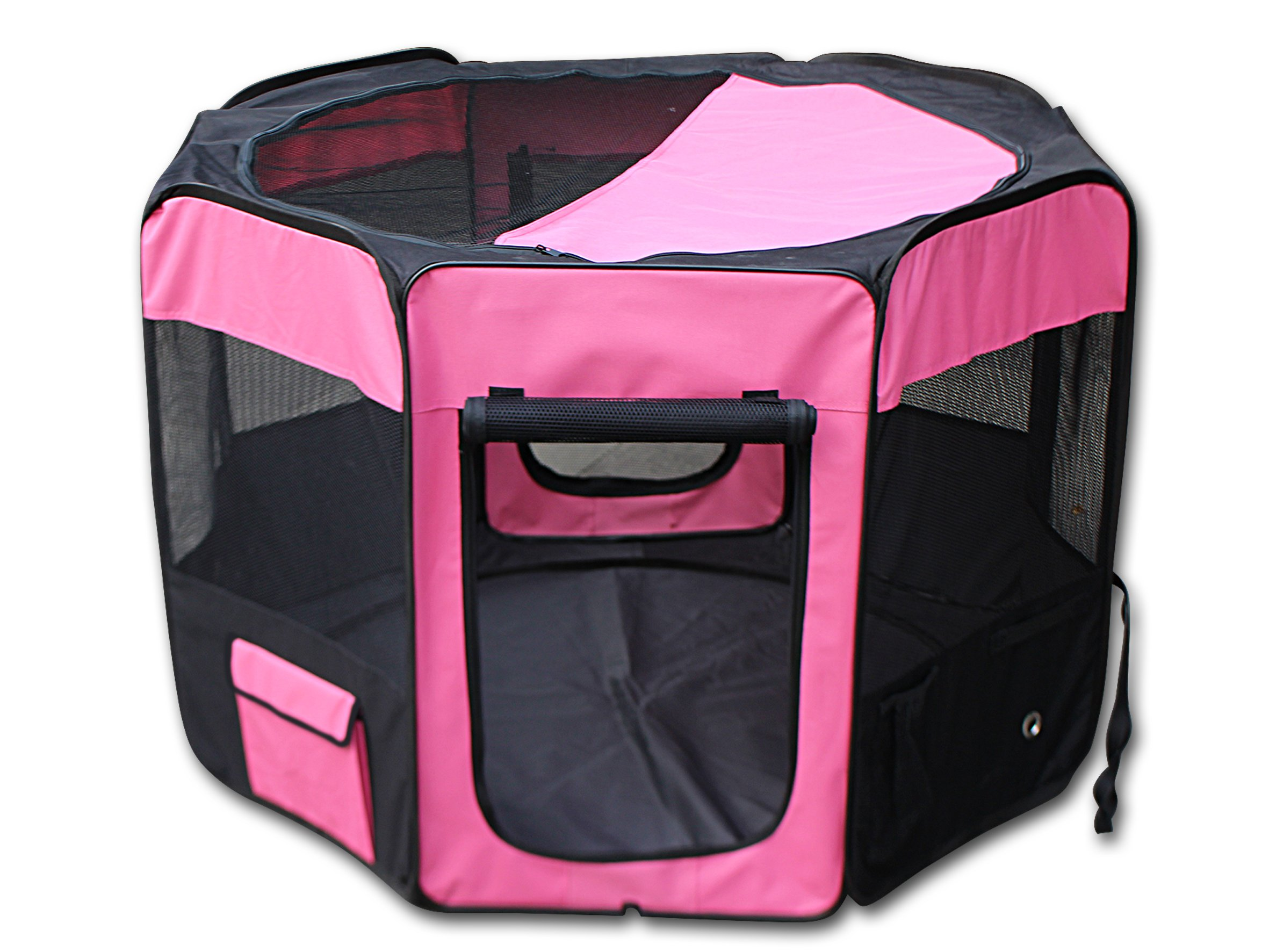 YoYo Moon 46'' D X 30'' H Pet Puppy Dog Playpen Exercise Puppy Pen Kennel 600d Oxford Cloth, Pink/Black