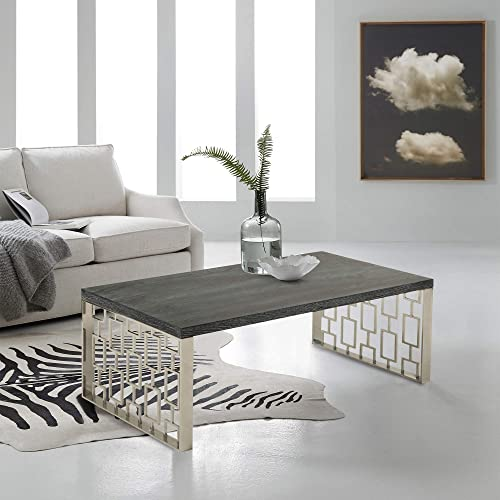 Armen Living Skyline Coffee Table with Charcoal and Chrome Finish
