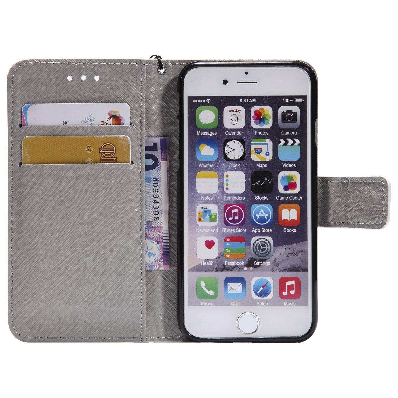 4,7 Pouces P Coque iPhone 6S Porte-cl/és Housse en Cuir 3D Retro Peint Housse Coque D/ésign avec Carte de Cr/édit et Dragonne Stand Debout Fonction Souple Caoutchouc PU Cuir Etuis