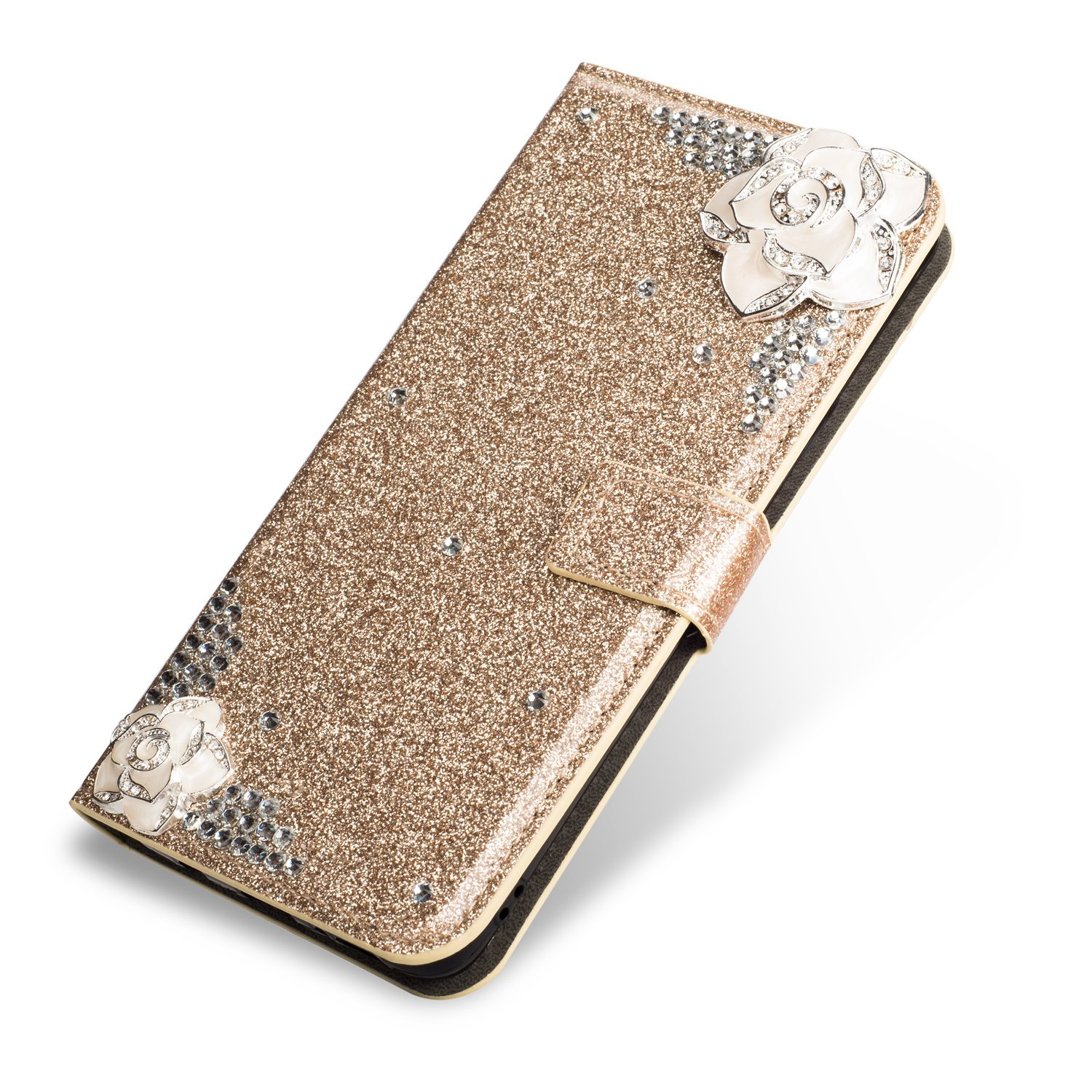 SevenPanda Luxury Bling PU Leather Wallet Case for Galaxy A8 2018, Diamond Glitter Crystal Rhinstone 3D Feather Flower Magnetic Clasp Flip Folio Stand Case for Samsung Galaxy A530/A5 2018 - Gold A530-ZuanPiT-Jin