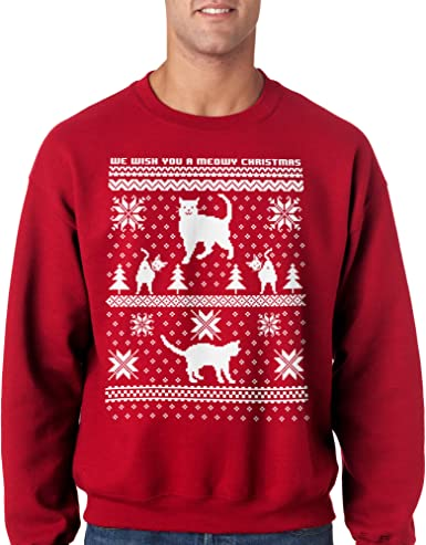 Meowy Catmas Funny Christmas Holiday Crew Neck Sweatshirt