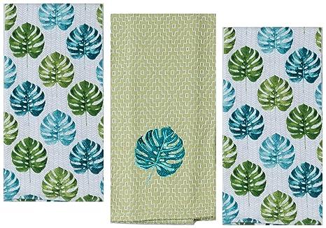 Amazon.com: 3 Palm Tree Leaf Themed Decorative Cotton ...