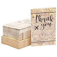 Kraft Travel Map Thank You Cards with Envelopes (4 x 6 Inches, 48 Pack)
