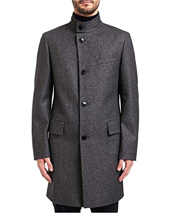 205f8b6f2 Amazon.com: Hugo Boss Hugo Mens C-Sintrax Band Collar Coat 46R Dark ...