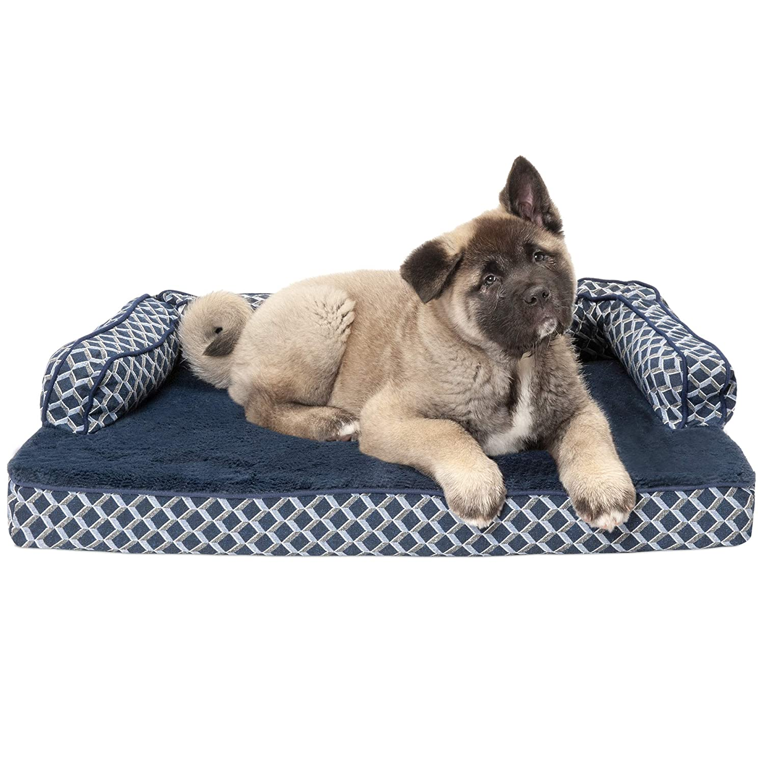 FurHaven Pet Dog Bed   Cooling Gel Memory Foam Orthopedic Plush & Decor Comfy Couch Pet Bed for Dogs & Cats, Diamond bluee, Medium