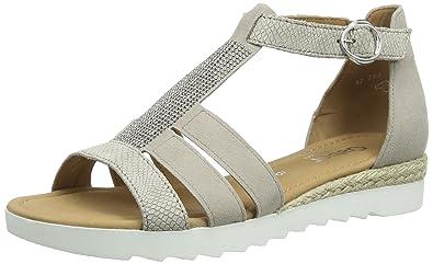 Shoes 42.713 Damen T-Spange Sandalen,Beige (44 Puder (Jute)),43 EU Gabor