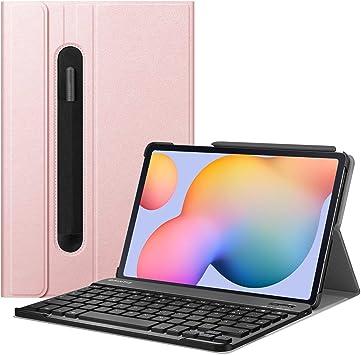 Fintie Funda con teclado para Samsung Galaxy Tab S6 Lite 10,4 SM-P610/P615 2020 con soporte para bolígrafo, funda ultrafina con teclado alemán ...