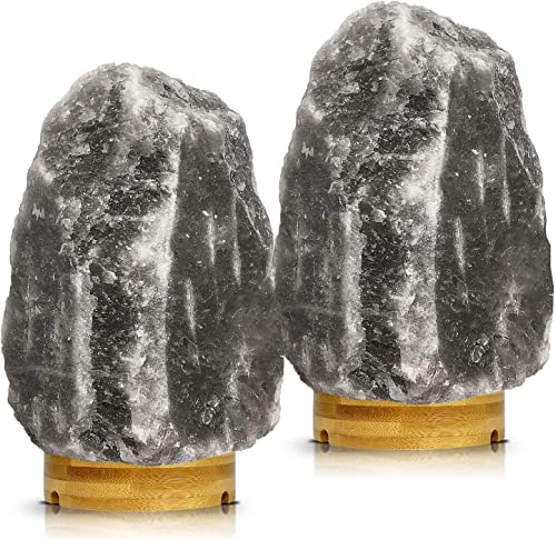 Set of 2 Pack Large Heavy Duty 5-8 lbs Grey Gray White Himalayan Salt Lamp Night Light Lights Gray Crystal Hymalain Rock Table Lamp