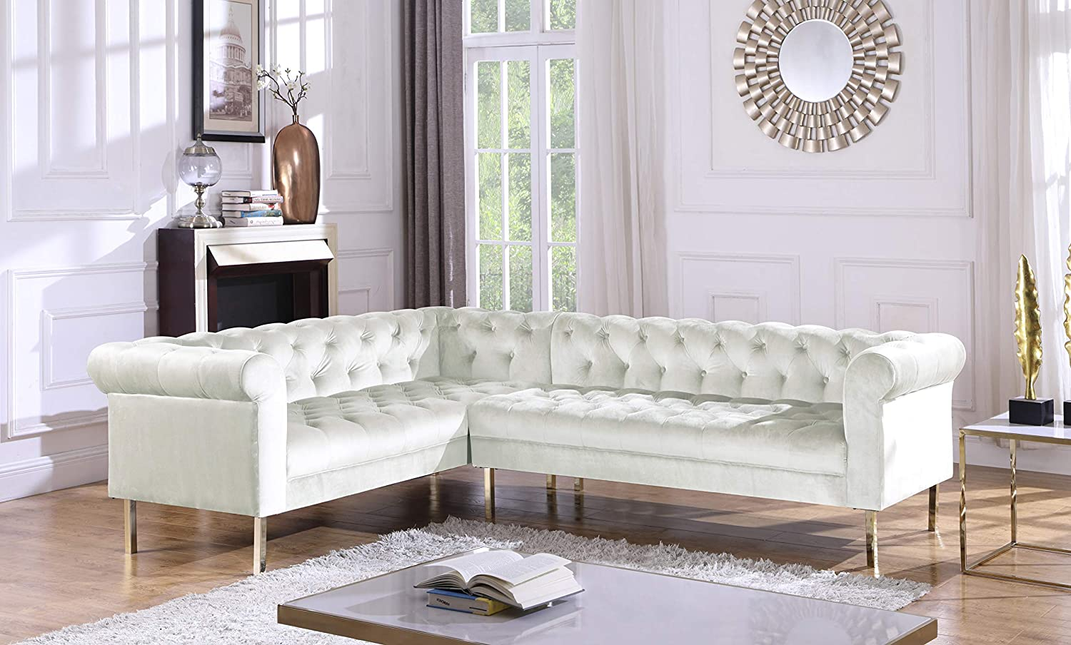 Iconic Home Giovanni Left Facing Sectional Sofa L Shape Velvet Upholstered Button Tufted Roll Arm Design Solid Gold Tone Metal Legs Modern Transitional Beige