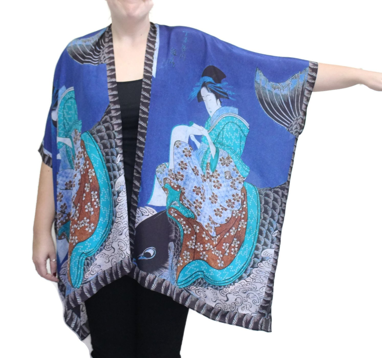 Cocoon-House Women's Koi Silk Hand Painted Long Kimono Jacket Oversized One Size Plus (Blue) by Cocoon House