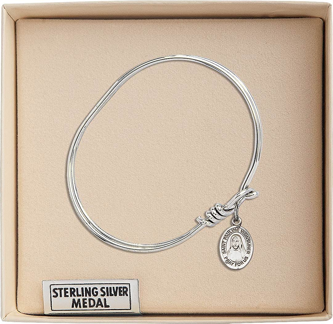 5 3//4 inch Oval Eye Hook Bangle Bracelet with a St Pauline Visintainer charm.