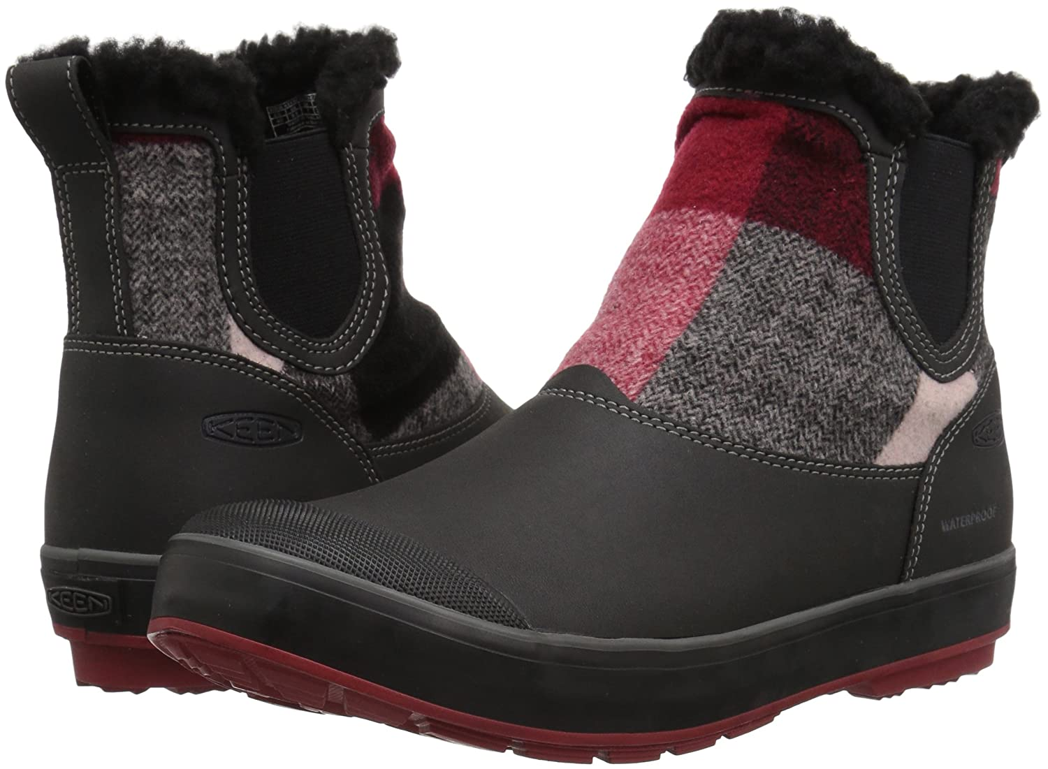 KEEN Women's Elsa Chelsea Waterproof Boot B01N76HSJV 7 B(M) US|Red Dahlia Wool