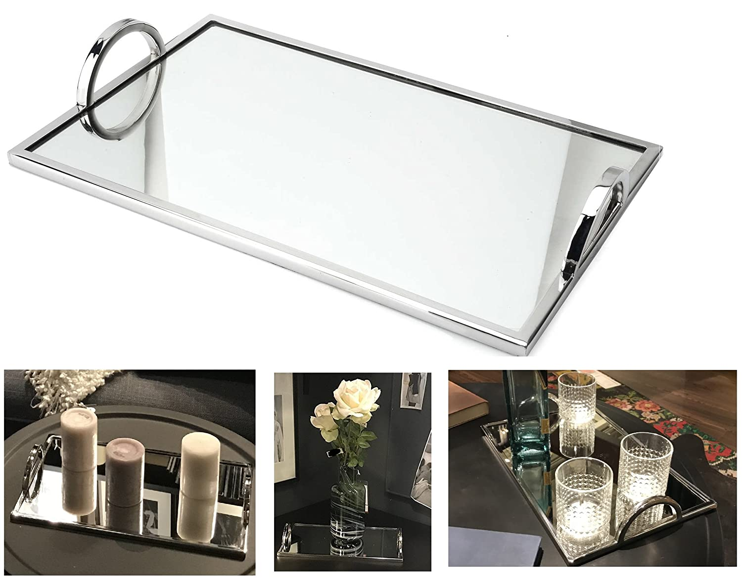 Elegant Silver Mirror Tray - with Chrome Edging and Handles - Rectangle Vanity Tray - Ideal for Ottoman, Coffee Table, Perfume Set, Living Room, Dining Room, Whiskey Decanter Set. 17 x 12 Inches