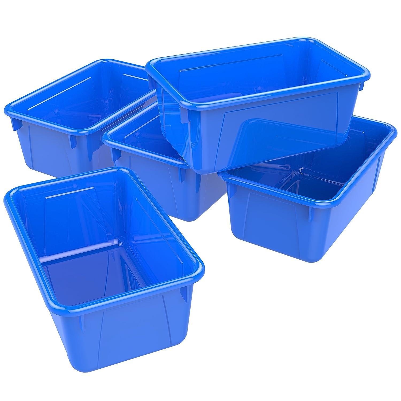 Storex Small Cubby Bin, Plastic Storage Container Fits Classroom Cubbies, 12.2 x 7.8 x 1, Blue, Pack of 5 (62416U05C) Storex Industries Corp.